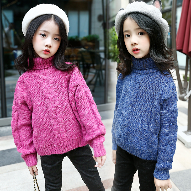 New Baby Girls Knitting Sweater Winter Kid School Costume Long Sleeve Casual Pullover Top Solid Color Cute Princess Girl Sweater цена