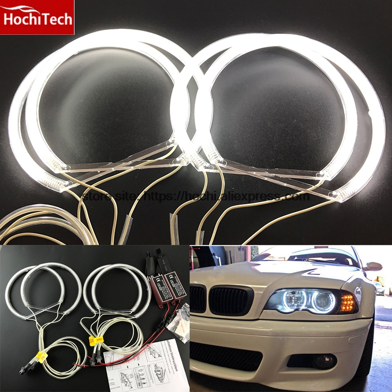 HochiTech CCFL Angel Eyes Kit Warm White Halo Ring 131mm*4 For BMW E36 E38 E39 E46 (With Original Projector) cotton smd led angel eyes rings for bmw e38 e36 e39 e46 smd led halo rings kit for e46 with projector 4 131mm led smd angel eyes