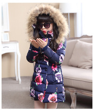Children Clothing 2019 new printing Flower Long sleeve Girls Winter Coat Hooded Zipper Kids cotton Jacket Baby Girl Clothes недорго, оригинальная цена