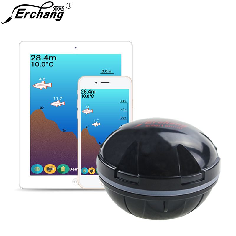 Erchang Portable Sonar Fish Finder Bluetooth Sans Fil 36 m/118ft Profondeur Mer Lac Poissons Détecter Professionnel Poissons Finder IOS android