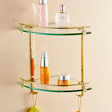 Modern Zirconium Gold Triangle Glass Dresser Holder Corner Basket Polish Plated Cosmetic Shelf Mounting Bathroom Accessories R39