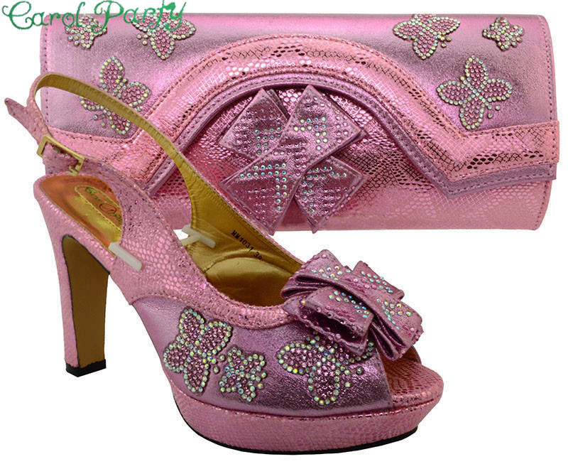 Shoes and Bag Set African Sets Pink Color Italian Ladies Shoe and Bag Set Decorated with Rhinestone African Shoes and Bag MM1031 2018 new arrival pink color italian shoe with matching bags shoes and bag set african sets 2018 shoe and bag italian design sets