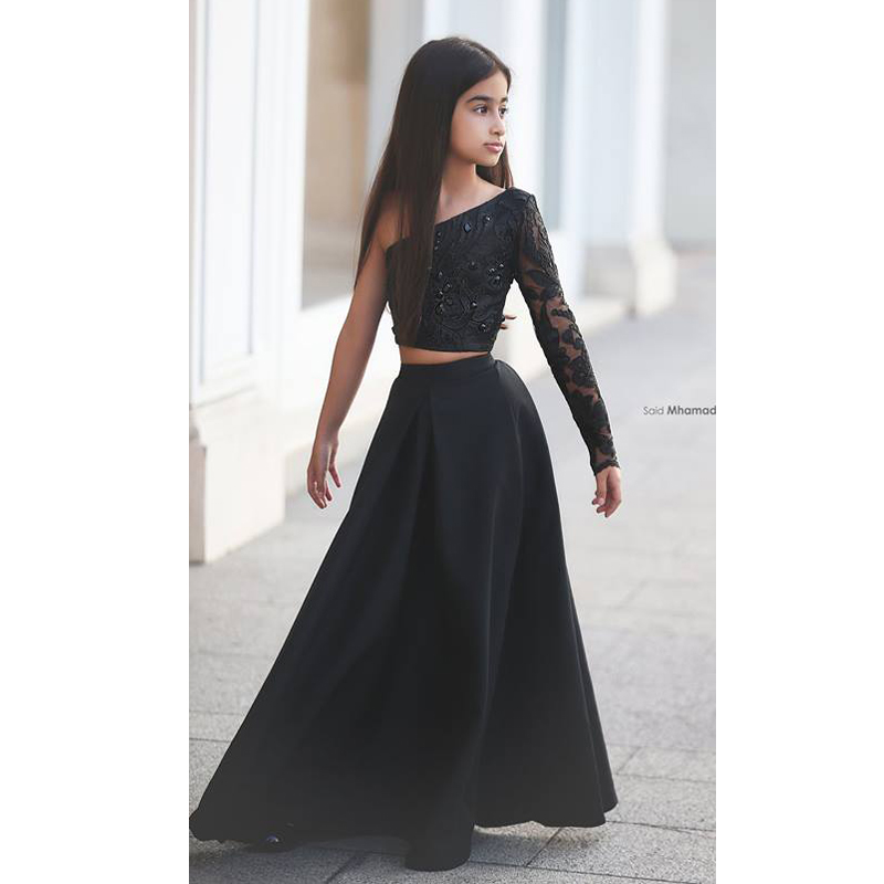 Black Lace Appliques Two Pieces   Flower     Girl     Dresses   2016 One Shoulder One Long Sleeve Pageant   Girl     Dresses   Kids Evening Gowns