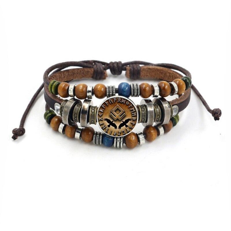 Bracelet Viking perles multicouche en cuir corde verre dôme 6