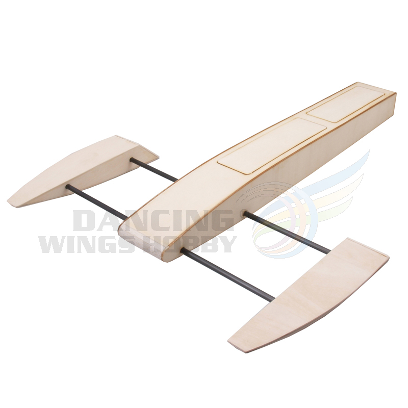 RC Speed Boat 495mm Wooden Sponson Outrigger Shrimp Racing Boat Model Building Kits Radio Remote Control Speedboat