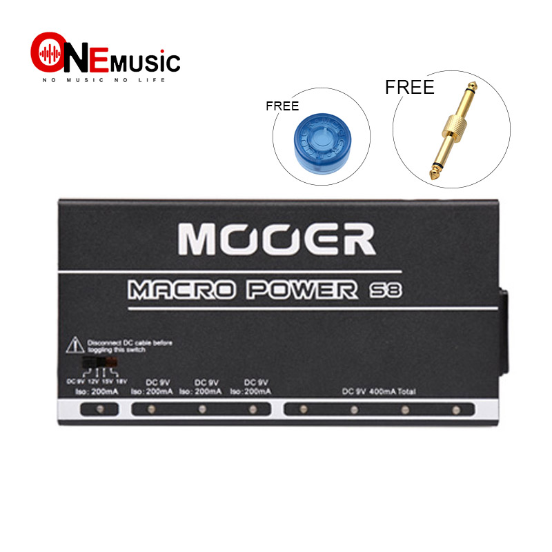 Mooer Macro Power Power S8 8 Ports Isolated Guitar Effect Pedal Power Supply With Blue LED light indicate the Power Supply StatuMooer Macro Power Power S8 8 Ports Isolated Guitar Effect Pedal Power Supply With Blue LED light indicate the Power Supply Statu