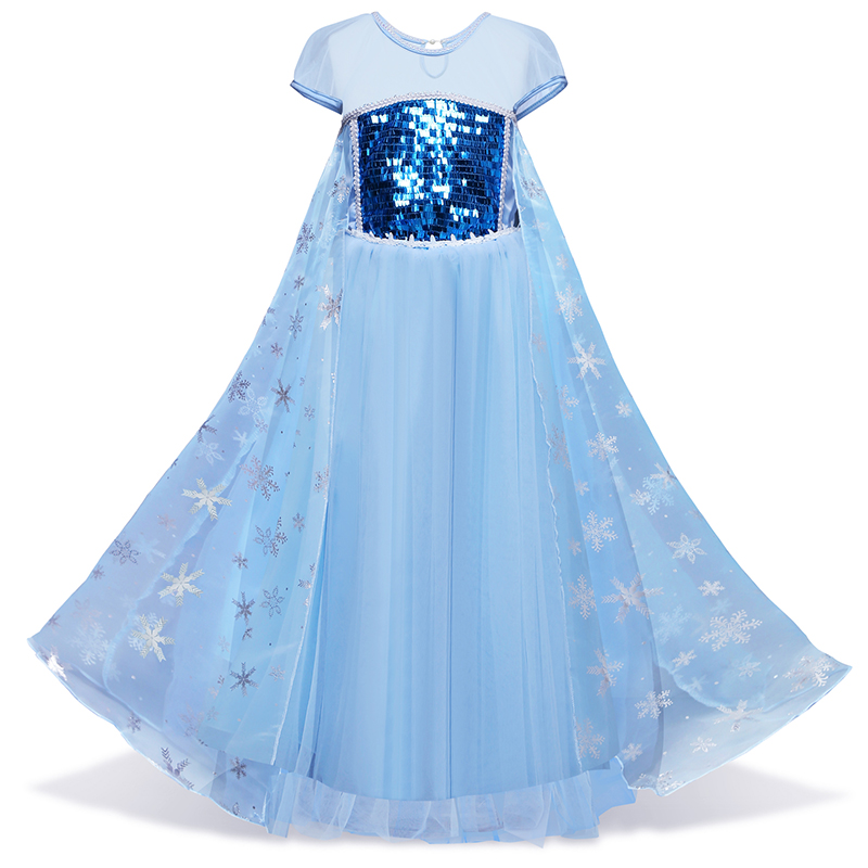 Retail Girl Sequins Elsa Dress Costomes Party Cosplay Dress Anna Girl Dress Princess Elsa Floor Length Costume for Children 3-8Y hermione jean granger cosplay costume dress for party