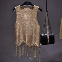 Women Sexy Hollow Out Gold Lurex Knit Tank Camis Tops Sequined Shiny Ttassels Vest Tank Tops