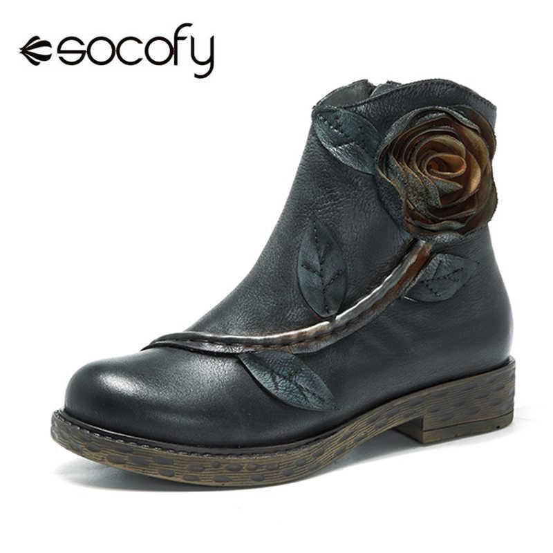 Socofy Echt Leer Winter 2018 Vrouwen Laarzen Vintage Handgemaakte Bloem Rits Enkellaars Vrouwen Schoenen Chunky Blok Hakken Botas