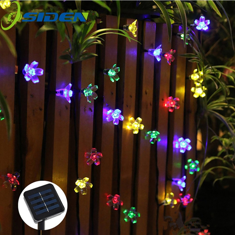 Solar String Lights 7m 50led Fersken Flower Vandtæt Udendørs Decoration Lighting Fariy Julelys Wedding Party Garden