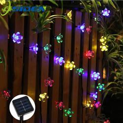 Солнечная струнная лампа 7 м 50led Персиковый Цветок водостойкое наружное украшение освещение Fariy Рождественские огни свадьба вечерние