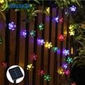 Solar luces de cadena de 7 m 50led Flor de melocotón impermeable al aire libre decoración iluminación Fariy luces de Navidad fiesta de boda de jardín