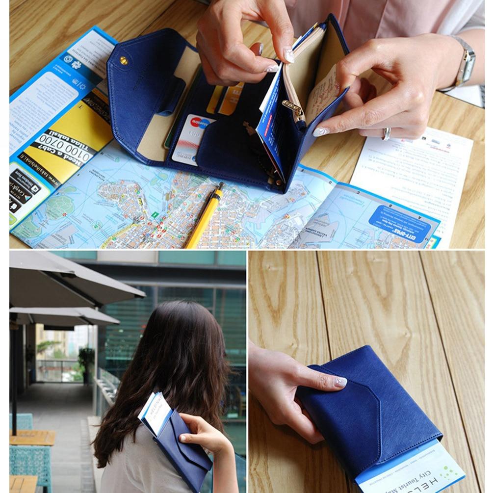 Vbiger Travel Passport Wallet Trifold Document Organizer Multi-purpose PU Leather Passport Holder with Snap Fastener Closure
