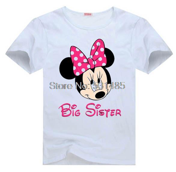 Mouse Ears Big Sister Of Birthday Girl Minnie Party Shirt For Toddler Kids Children Boy Cartoon T