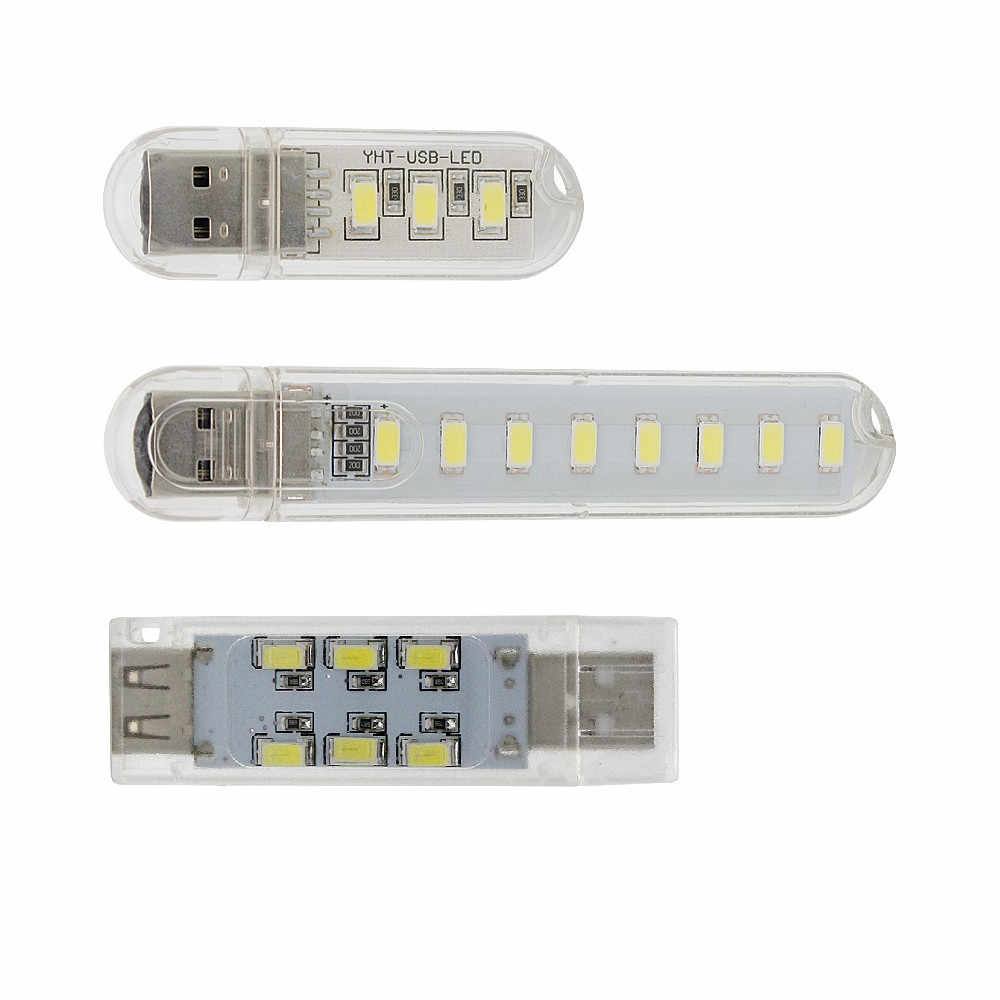 1pcs USB LED Night Light 12LEDs 8LEDs 3LEDs Cold White Luminaria Lamp for Reading Gadget Notebook Power Bank Computer