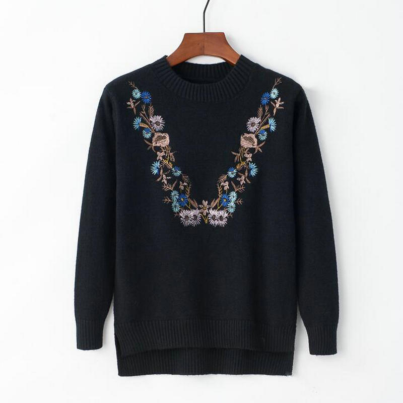 18 Pull Femme Women Floral Embroidery Sweater O-neck Long Sleeves Knit Jumper Jerseys 9 Colors Soft Pullover 9