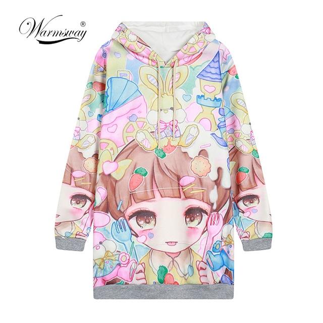 Autumn Lolita Hoodies Women Cute Hot Japan Students Young Kawaii Pullovers  Japanese Girl HARAJUKU Long style Sweatshirt C-215 1168ad5303