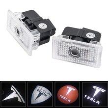 뜨거운 판매 2 개/몫 자동차 led 3d 로고 그림자 빛 환영 빛 장식 신호 램프 테슬라 모델 s 모델 x 모델 3 모델 y