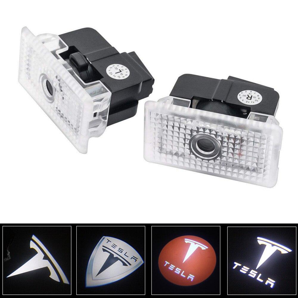 HOT sale 2pcs/lot Car LED 3D LOGO shadow light welcome light Decorative signal Lamp For Tesla MODEL S MODEL X MODEL 3 MODEL Y