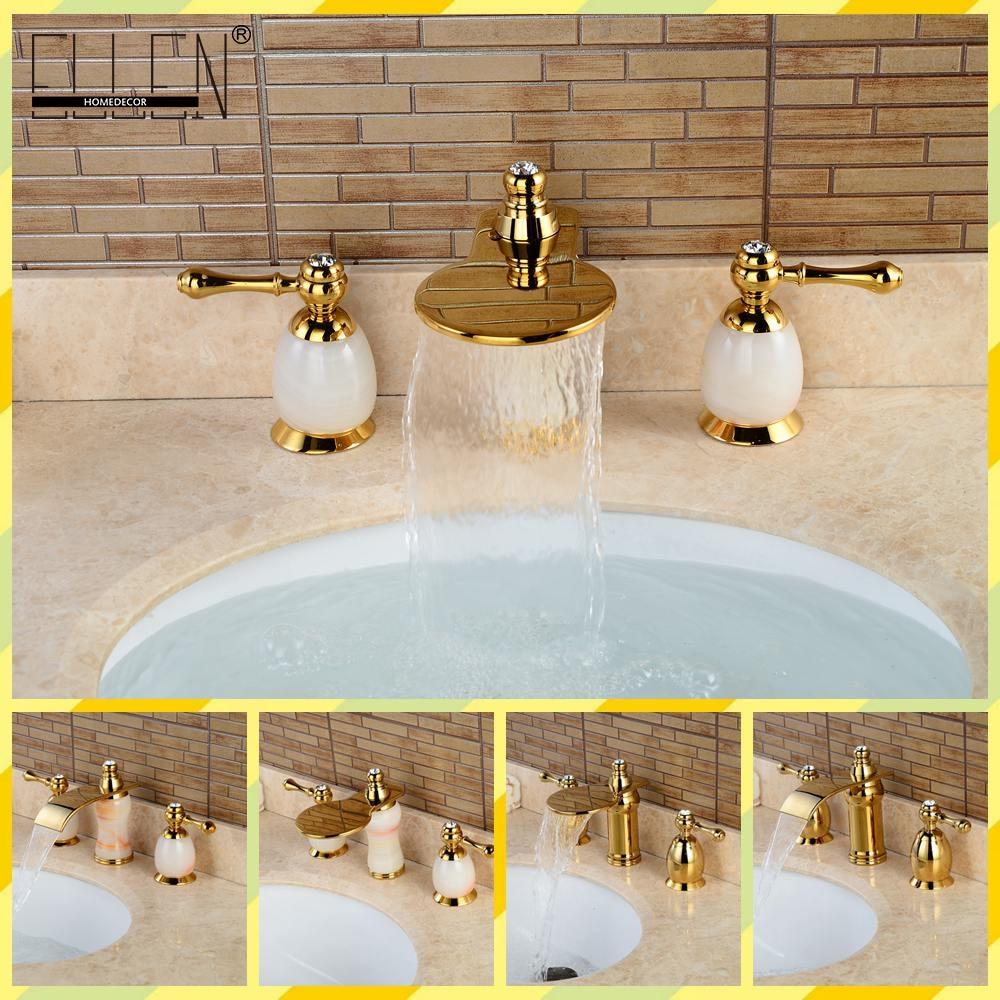 Luxury Gold Bathroom Sink Faucet Dual Handle Three Hole Jade Mixer Faucet одежда для сна gold three pagodas