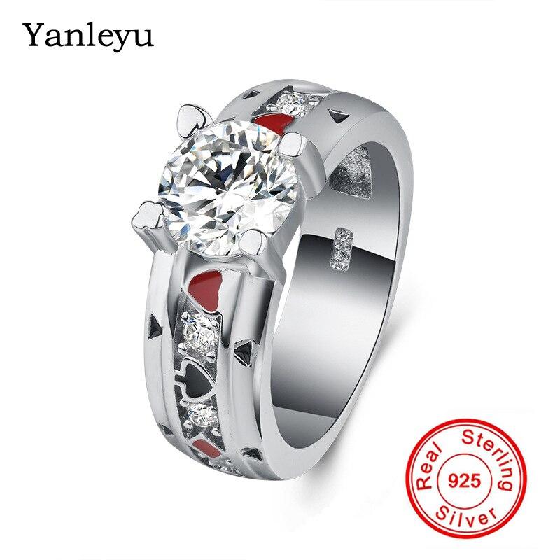 Yanleyu luxe 2CT 8 MM cubique Zircon bague Solitaire solide 925 en argent Sterling anneaux de mariage pour les femmes bijoux de fiançailles PR014
