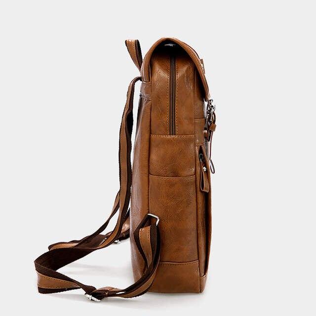 b02aca22ec2f Vintage Designer Men Backpack Waterproof PU Leather Travel Bag Man Large  Capacity Teenager Male School Mochila Laptop Backpacks