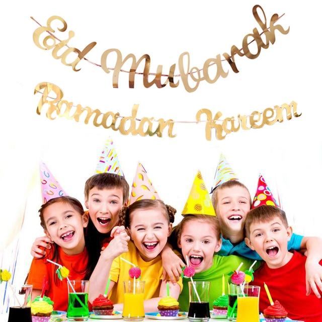 Gold Ramadan Kareem Decoration Eid Mubarak Paper Banner for Home Garland Muslim Festival Ramadan Kareem Islamic EID Banner