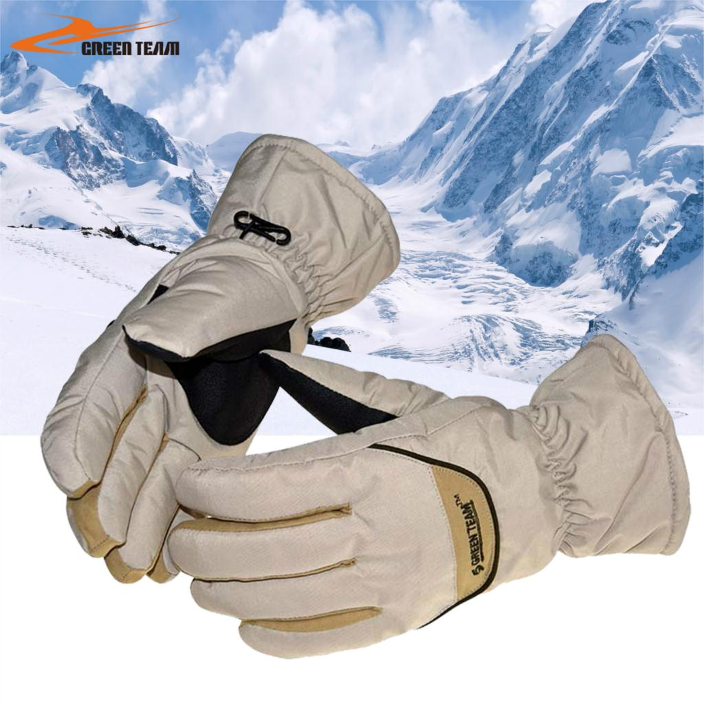 Womens leather ski gloves - Winter White Womens Ski Gloves With Warm Gloves For Outdoor Snowboarding Gloves Mens Ski
