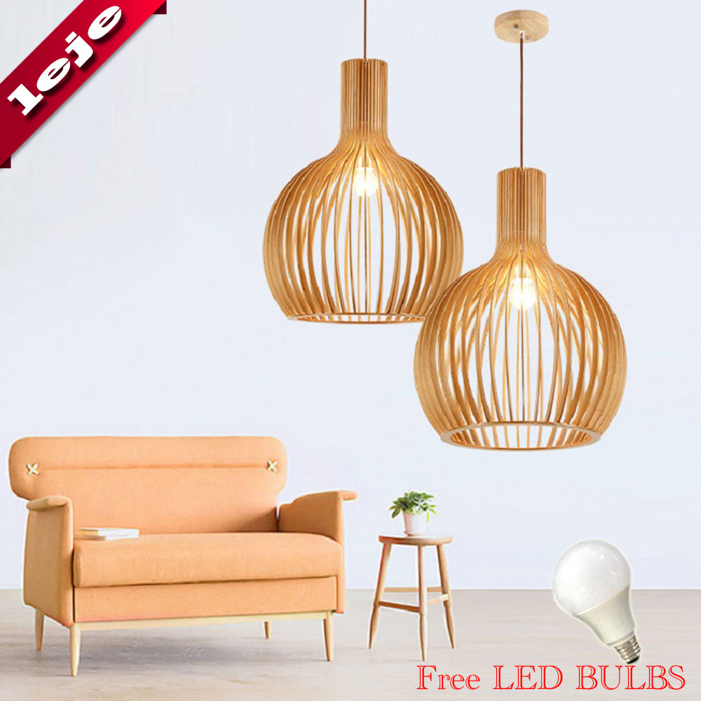 Free Bulb Wood Pendant Lamp E27 ball light Island Dining Shop Bar Counter Decoration Cylinder Pipe