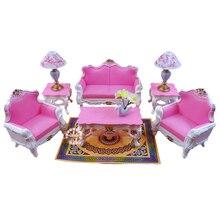 Делюкс гостиной диван набор для Барби миниатюрный кукольный домик мебель с журнальным столиком наборы ламп ковер Игрушки для девочек