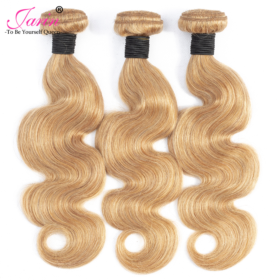 Honey Blonde Brazilian Body Wave 3 Bundles Human Hair Extension 27 Double Weft Jarin non Remy