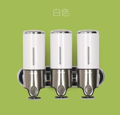 Белый или серебристый тройной дозатор мыла для рук легко обрабатывать