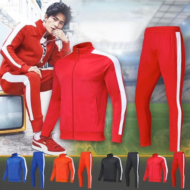 Sudadera Shinestone chándal para hombre Conjunto sudadera nueva 2018 marca Otoño Invierno 2 piezas asiáticas 4XS-5XL con cremallera pantalones