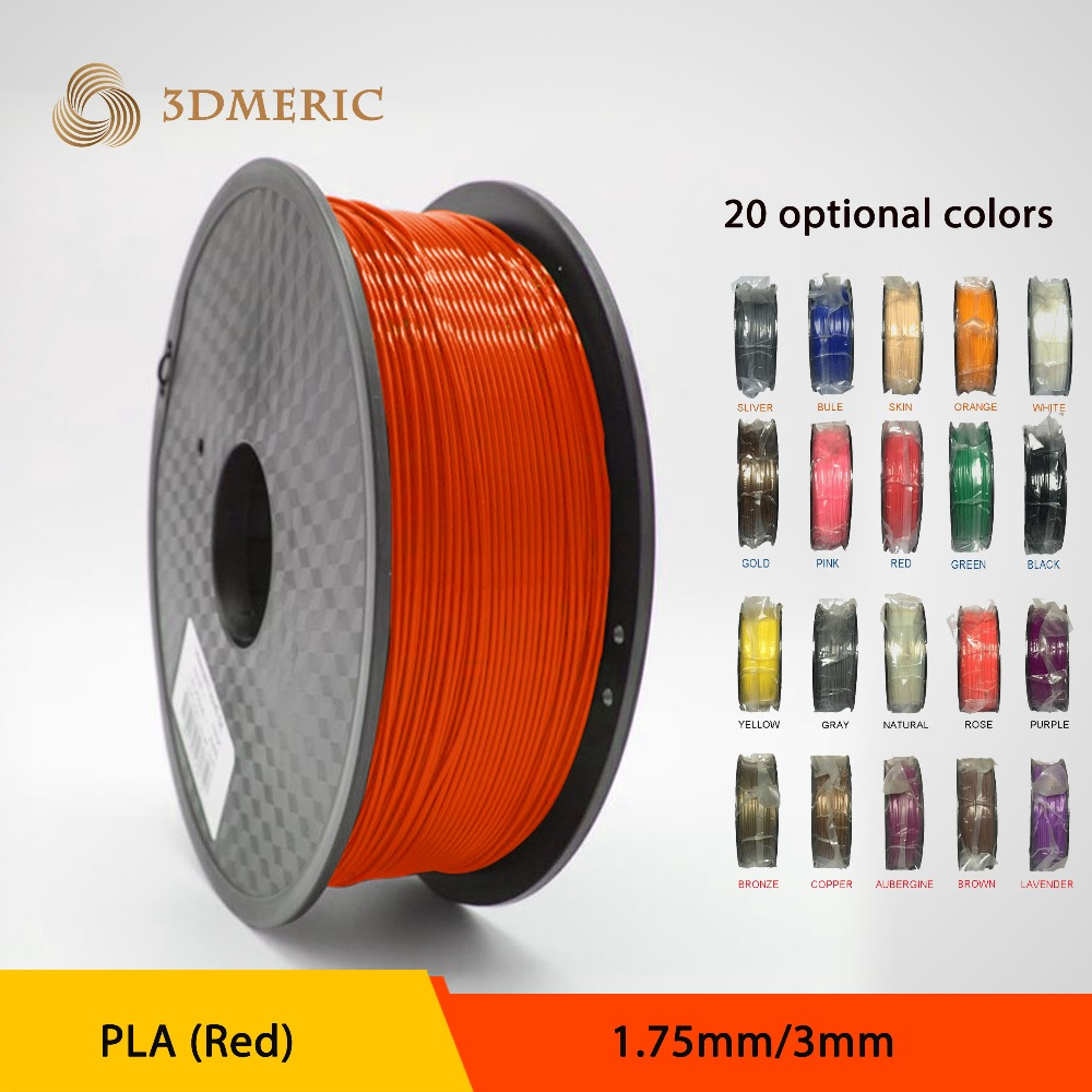 1.75/3.0mm ABS PLA 3D Printer Filament, 20 Colors to Choose,1kg Available