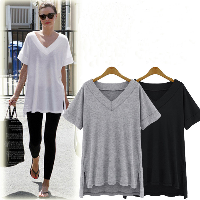 HTB1yQi4JFXXXXawXXXXq6xXFXXXr - Summer Plus Size 4XL 5XL Cotton Solid Clothing Casual V neck
