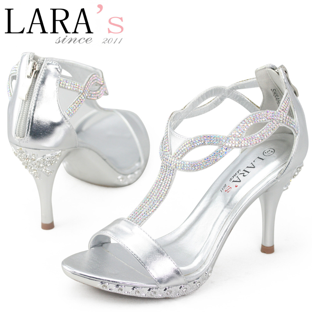 Lara S Brand Women Las Wedding Shoes Rhinestone Diamante Diamond Crystal Silver Heels 9cm 3 54 Inches Ankle Strap Sandals In Pumps From