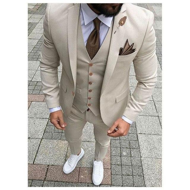 2017 Latest Coat Pant Designs Beige Men Suit Prom Tuxedo Slim Fit ...
