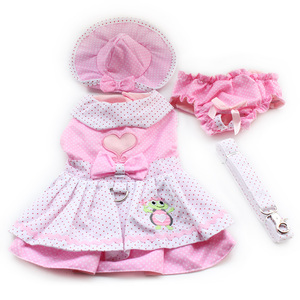 Image 2 - Armi store Dog Dresses Pink Princess Dress For Dogs 6071054 Pet Clothing Supplies ( Dress + Hat + Panties + Leash = 1set