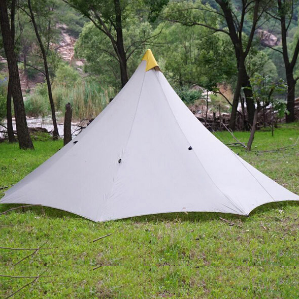 Ultralight Outdoor Camping Teepee 20D Silicon nylon Pyramid Tent 3-4 Person Large Tent Waterproof Backpacking Hiking Tents 1240g camping tent ultralight 6 8 person outdoor 20d nylon both sides silicon coating rodless large space tent triangle 4 season
