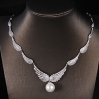Hot European Design Simple Delicate Wings Pearls Full Zirconia ZC Short Necklace And Earrings Jewelry Set
