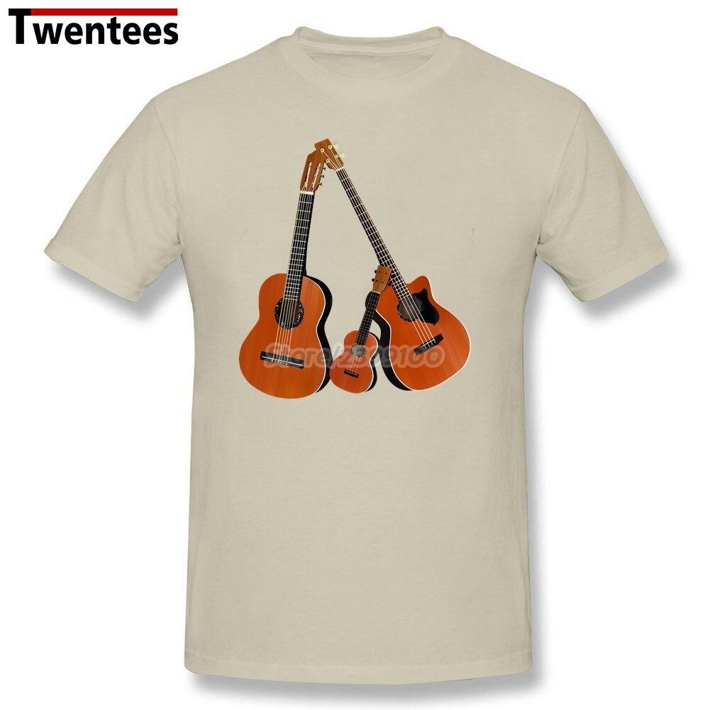 Family Acoustic Guitar T Shirt Men 2017 Short Sleeve Fashion Custom Big Size Team Music Instrument Shirts