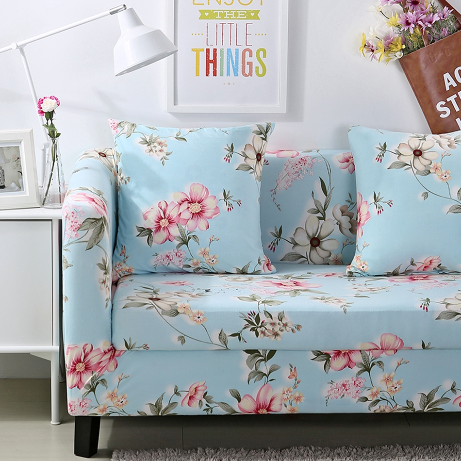 Light Blue Stretch Furniture Covers For Living Room 100 Polyester Flowers Printing Universal Couch Sofa