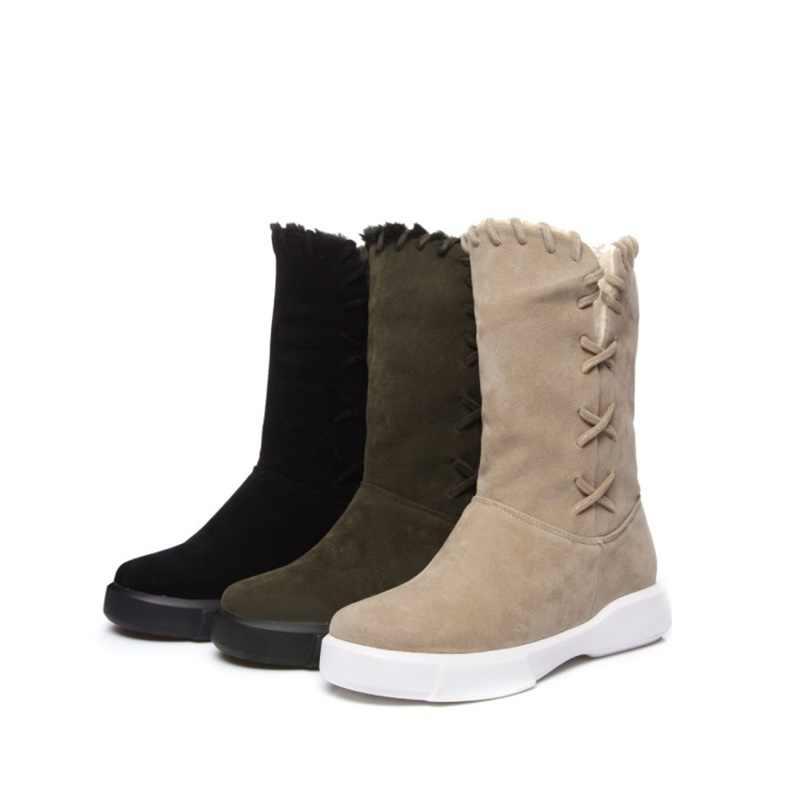 EGONERY kadın kar botları 2019 kış yeni rahat sıcak düşük topuk dışında yürüyüş ayakkabısı yuvarlak ayak kaliteli marka kadın botları