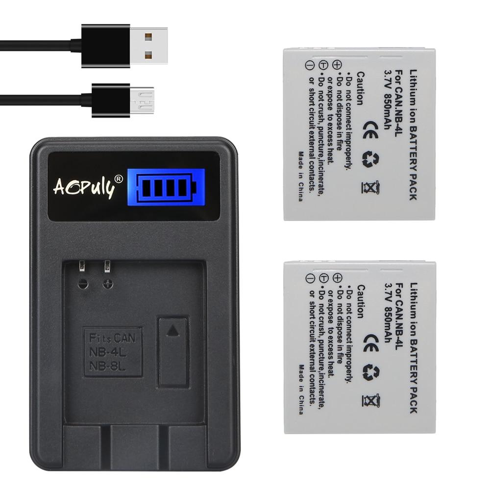 AOPULY 2Pcs NB 4L NB 4L NB4L Li ion Battery LCD USB Charger For Canon IXUS