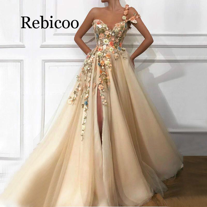 2019 magnifique une épaule dentelle appliqu sexy haut ouvert champagne longue robe