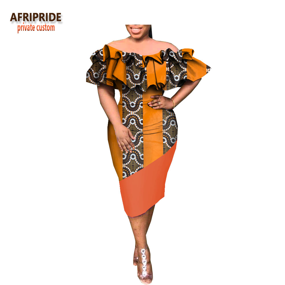 2018 spring dress for women AFRIPRIDE customzied ruffles sleeve slash neck knee length pencil women casual