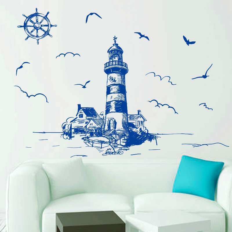 [SHIJUEHEZI] Blue Color Lighthouse Birds Etiqueta de la pared - Decoración del hogar