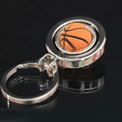 1Pc 3D Rotating Basketball/Football/Golf Keychain Keyring Pendant Gift Keyfob-W128