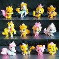 5-11 peças/conjunto pouco Ação pvc Toy Figuras pôneis boneca de pelúcia Unicórnio cavalo tigre gato cão de Estimação palácio