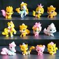 5-11 unidades/conjunto poco pvc Figuras de Acción de Juguete caballos Unicornio muñeco de peluche caballo perro gato tigre Mascota palacio